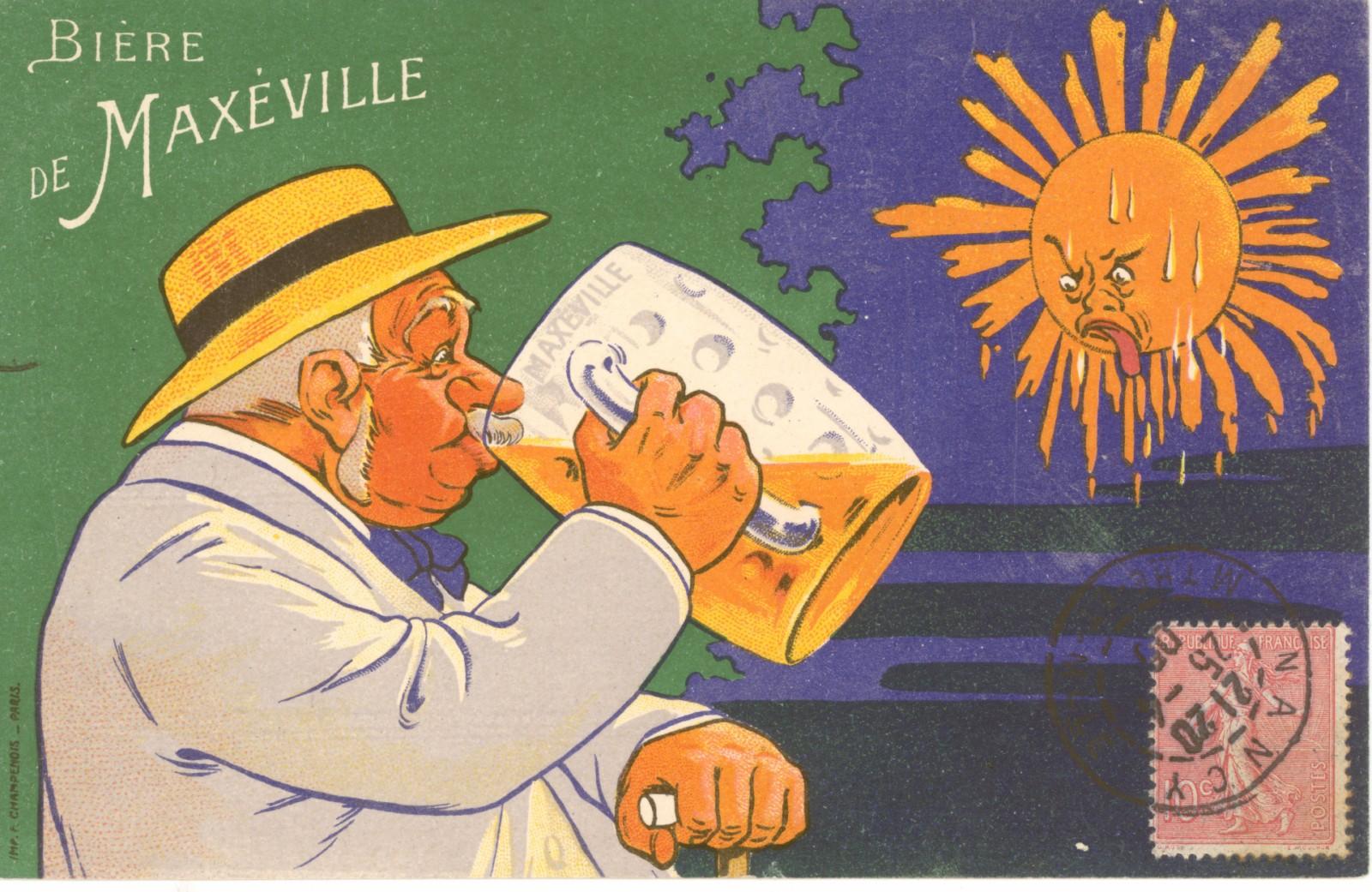 Carte postale des grandes brasseries de Maxéville, intitulée